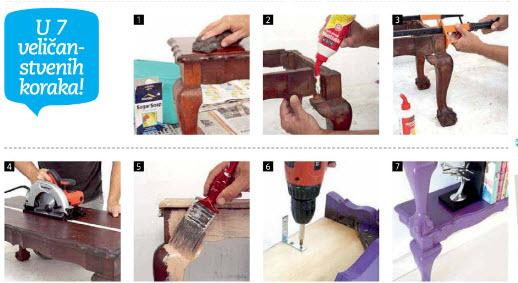 kako napraviti police za knjige od drvenih stolića